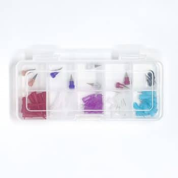 assortment box of plastic and metal tips for 3d bioprinting allevi