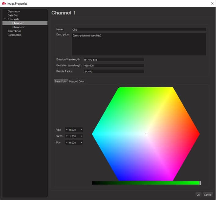 changing the color choice and intensity in imaris